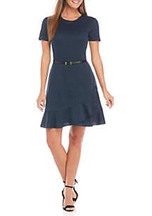 Short Sleeve Belted Dress With Flounce Hem