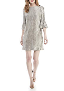 Bell Sleeve Metallic Shift Dress