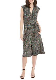 London Times Sleeveless Faux Wrap Multi Dot Print Jumpsuit