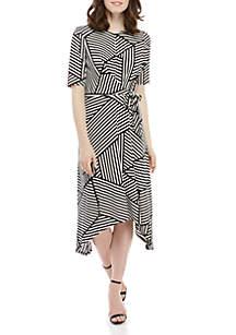 London Times Side Knot Stripe Midi Dress