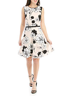 London Times Sleeveless Floral Fit And Flare Dress With Belt