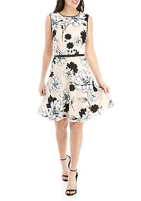abcecd51db10a London Times Sleeveless Floral Fit And Flare Dress With Belt ...