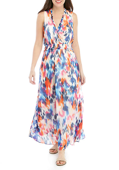 London Times Wrap Bodice Chiffon Maxi Dress