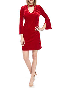 Long Sleeve Gigi Neck Crushed Velvet Dress