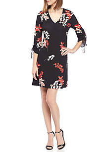 V-Neck Printed Jersey Dress with Tie Sleeves