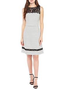 Sleeveless Lace Yoke Striped Fit-And-Flare Dress