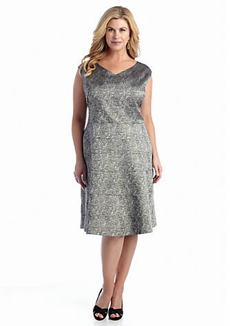 Anne Klein Plus Size Jacquard Fit And Flare Dress Belk