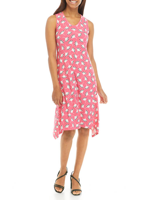 Anne Klein Womens Printed Tank Dress with Gusset