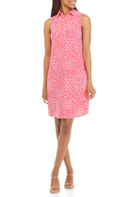 Anne Klein Womens Sleeveless Printed Collared Trapeze Dress