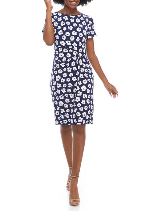Anne Klein Womens Short Sleeve Floral Faux Wrap
