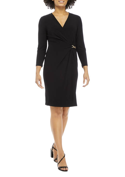 Anne Klein Womens Long Sleeve Wrap Dress with