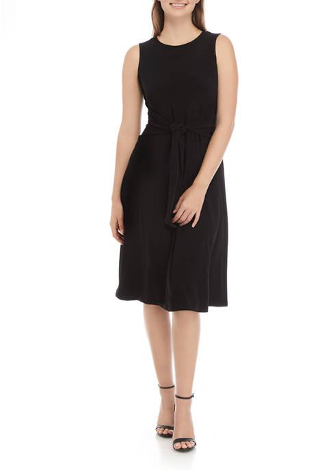 Anne Klein Womens Solid Tie Front Dress