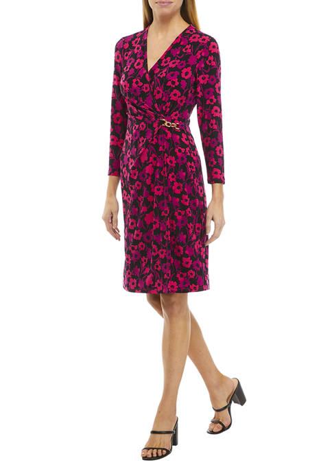 AK Anne Klein Womens Long Sleeve V-Neck Floral