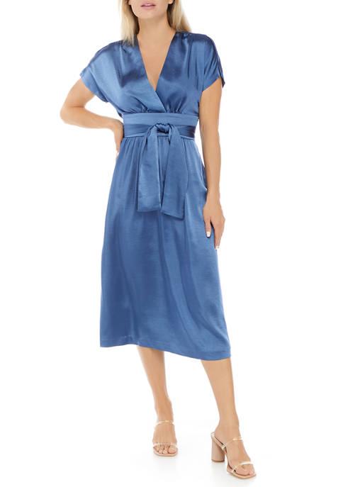 Anne Klein Womens Short Sleeve Washed Satin Midi