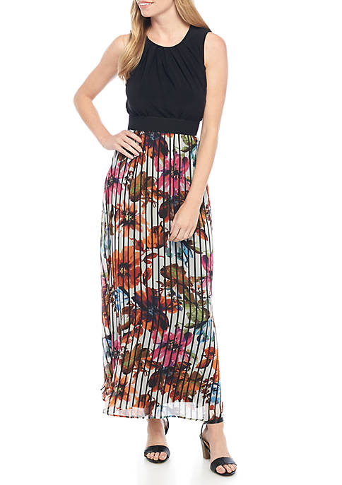 Gabby Skye Sleeveless Solid Top Floral Bottom Maxi