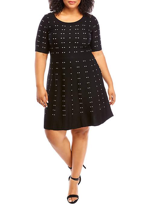 Plus Size Dot Print Sweater Dress