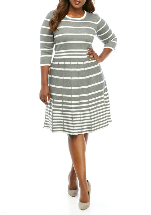 Plus Size Striped Fit and Flare Sweater Dress