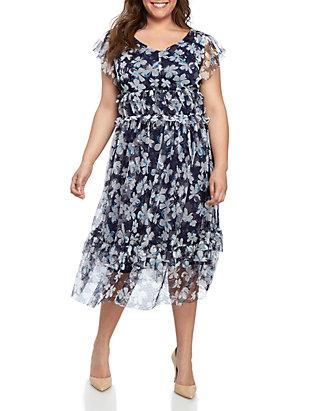 b38006e4bbf9 Danny & Nicole. Danny & Nicole Plus Size Short Sleeve Mesh Midi Dress