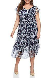 Danny & Nicole Plus Size Short Sleeve Mesh Midi Dress