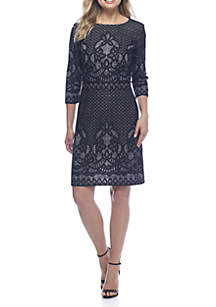 Three-Quarter Sleeve Lace Embroidered Plaid Sheath Dress