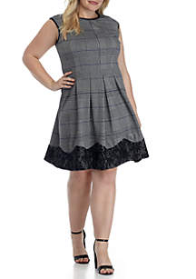 Plus Size Cap Sleeve Fit-and-Flare Dress with Lace Trim