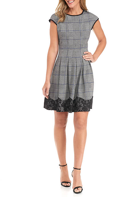 Danny & Nicole Cap Sleeve Houndstooth Fit-And-Flare Lace