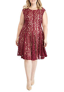Plus Size Lace Fit and Flare Dress