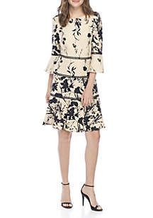 3/4 Bell Sleeve Floral Fit-and-Flare Dress