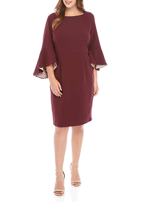 Gabby Skye Plus Size Bell Sleeve Dot Lined