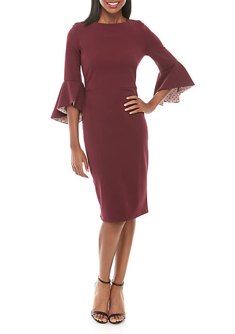 Womens Bell Sleeve Dot Lined Sheath Dress
