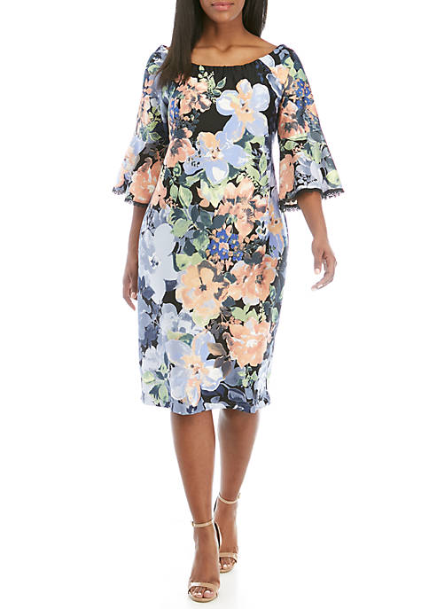 Plus Size Floral Bell Sleeve Sheath Dress