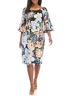 Gabby Skye Plus Size Floral Bell Sleeve Sheath Dress