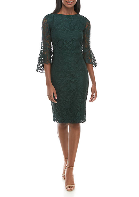 Gabby Skye Lace Bell Sleeve Sheath Dress