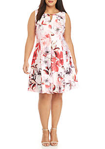 Gabby Skye Plus Size Floral Fit and Flare Dress