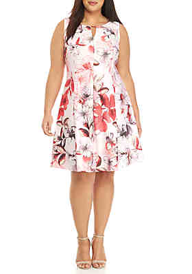 0800b77ddacf27 Gabby Skye Plus Size Floral Fit and Flare Dress ...