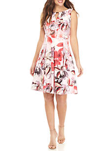 Gabby Skye Sleeveless Floral Bar Neck Fit and Flare Dress