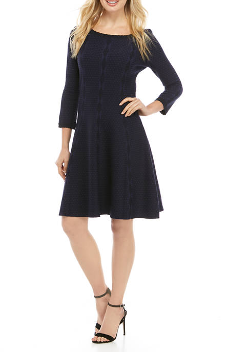 Womens 3/4 Sleeve Textured Fit and Flare Sweater Dress