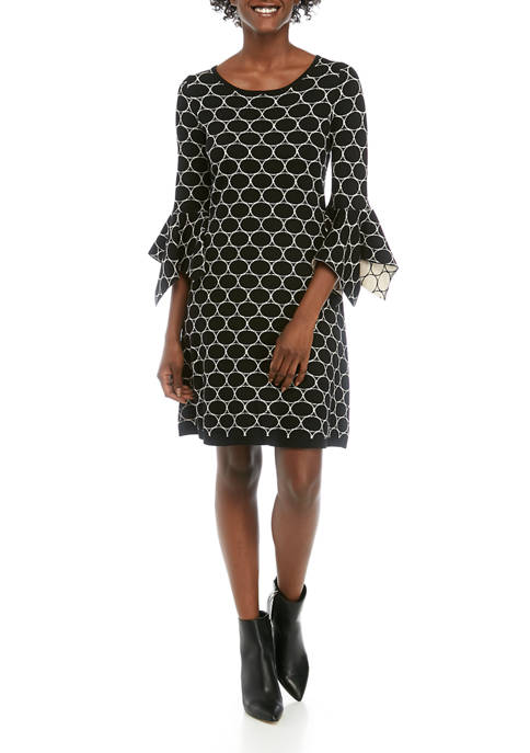 Womens Bell Sleeve Oval Jacquard Sweater Dress