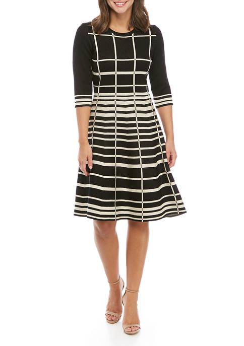 Womens Stripe Fit and Flare Sweater Dress