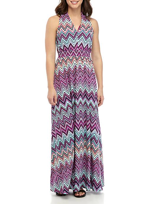 Gabby Skye Zig Zag Print Halter Maxi Dress