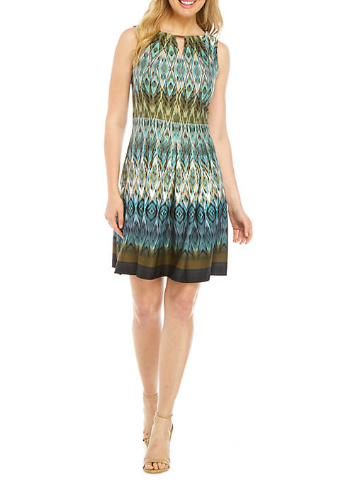 V Inset Fit and Flare Dress
