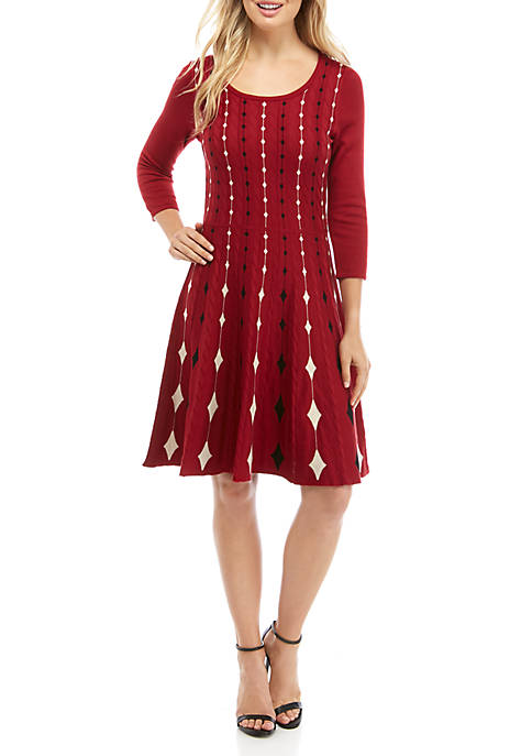 Gabby Skye Womens Queen Of Spades Sweater Dress