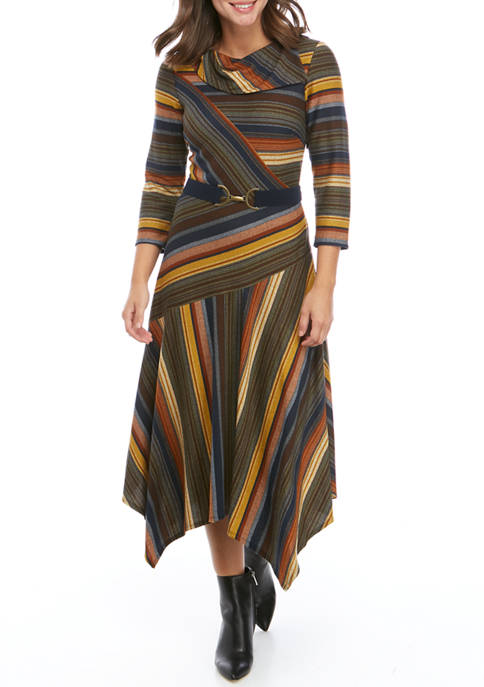 Womens Stripe Belted Cowl Neck Hacci Dress