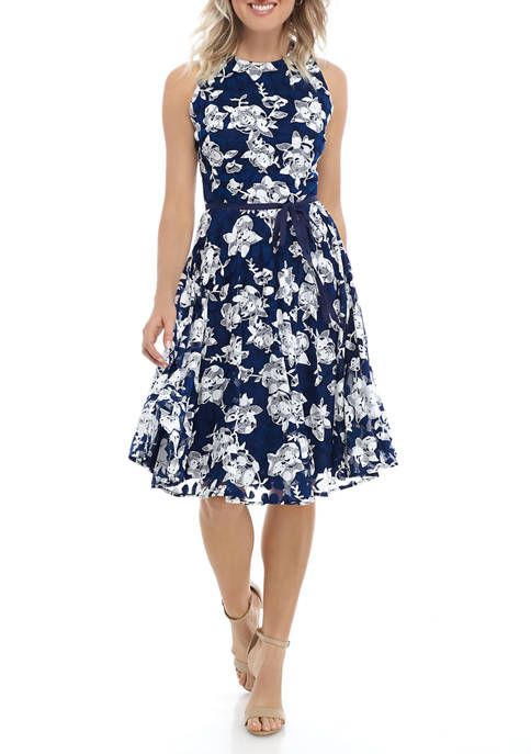 Petite Sleeveless Floral Fit and Flare Dress