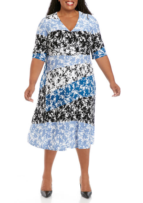 Gabby Skye Plus Size 3/4 Sleeve Faux Wrap