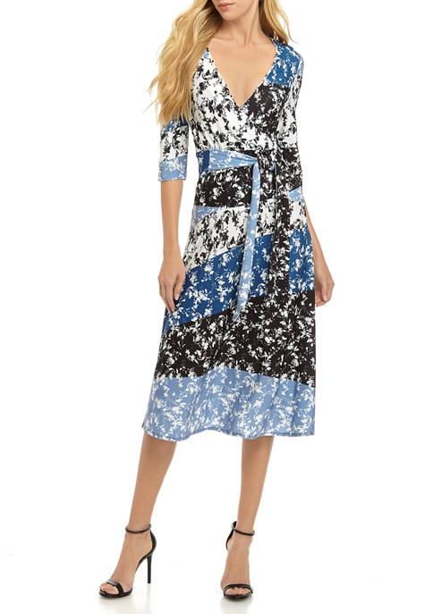 Womens 3/4 Sleeve Faux Wrap Printed Maxi Dress