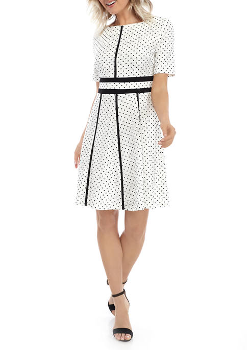 Petite Elbow Sleeve Dot Piped Dress