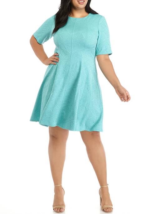 Plus Size Elbow Sleeve Jacquard Textured Knit Dress