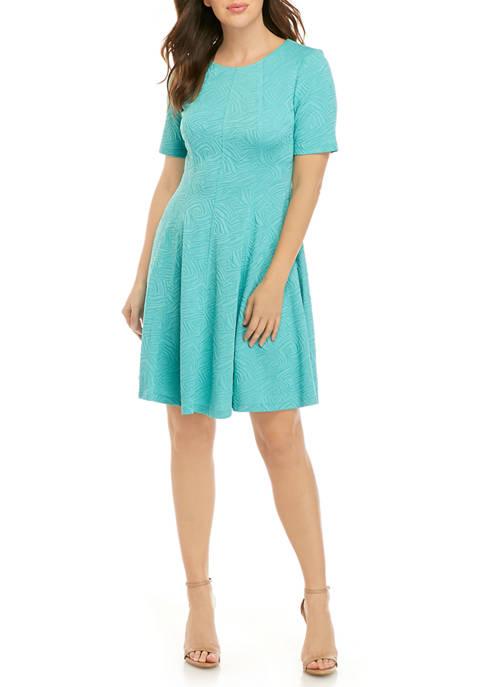 Gabby Skye Womens Elbow Sleeve Jacquard Textured Knit