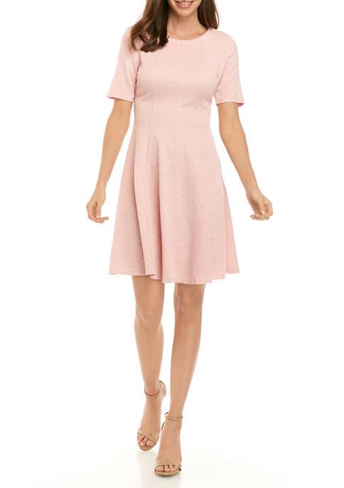 Womens Elbow Sleeve Jacquard Textured Knit Dress